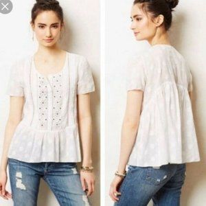 Anthropologie Leifsdottir Serein White Beaded Top